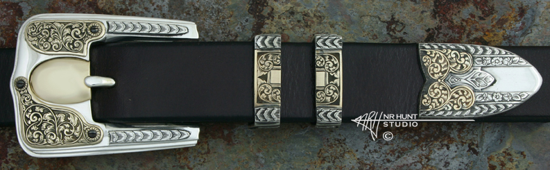 Hand Engraved Sterling Silver Ranger Belt Buckle Set w/Gold 'Americana Collection 1861-R'