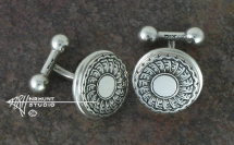 Hand Engraved Sterling Silver Cufflinks 'Hinge Pin No. 3 July, 2016'