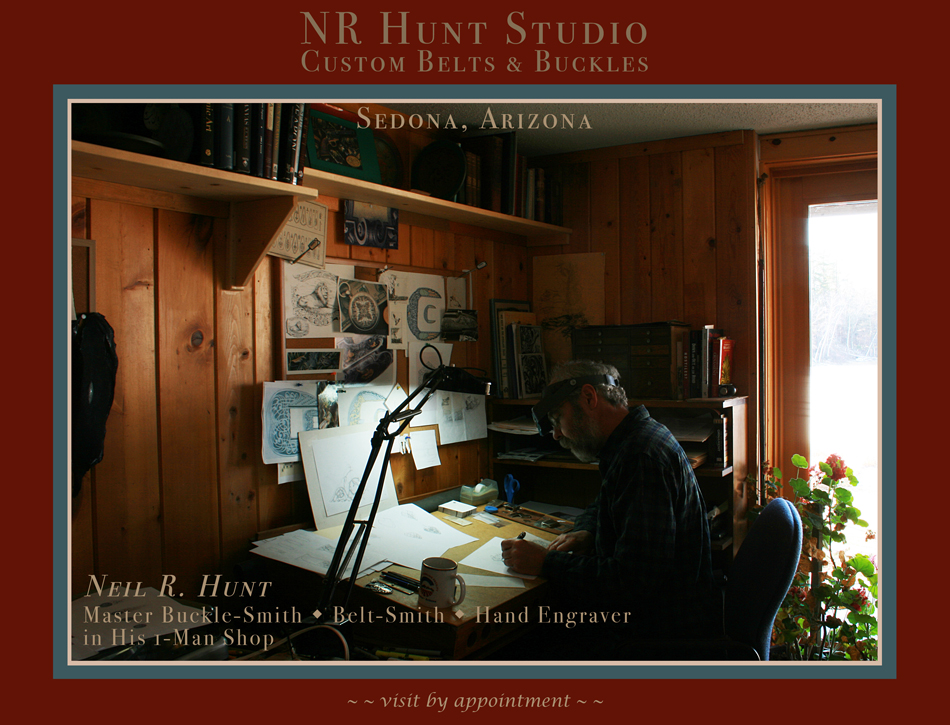 NR Hunt Studio - Fine, Custom Hand Engraved Belt Buckles ~ Custom Belts