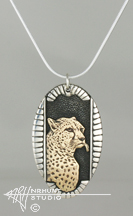 Sterling Silver w/Yellow Bronze or Gold 'Framed Cheetah' Pendant