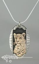 Sterling Silver w/Yellow Bronze or Gold 'Framed Leopard' Pendant