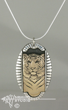 Sterling Silver w/Yellow Bronze or Gold 'Framed Tiger' Pendant