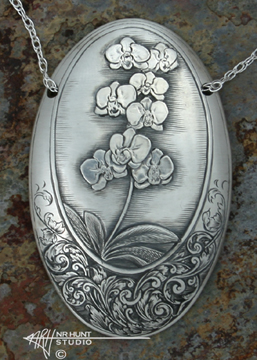 Custom hand engraved solid sterling silver orchid pendant 2 engraved silver orchid pendant mozeypictures Choice Image